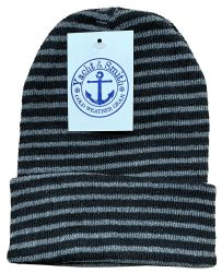 144 Units of Yacht & Smith Unisex Knit Winter Hat With Stripes Assorted Colors - Winter Beanie Hats
