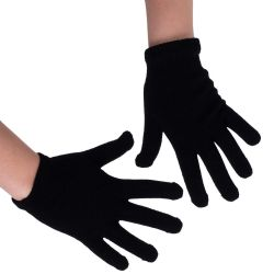 12 Units of Wholesale Bulk Winter Magic Gloves Warm Brushed Interior, Stretchy Assorted Mens Womens (Unisex/Black, 12) - Knitted Stretch Gloves