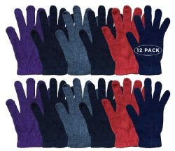 12 Units of Wholesale Bulk Winter Magic Gloves Warm Brushed Interior, Stretchy Assorted Mens Womens (womens/assorted, 12) - Knitted Stretch Gloves