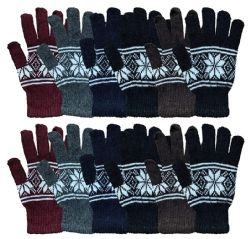 12 Units of Wholesale Bulk Winter Magic Gloves Warm Brushed Interior, Stretchy Assorted Mens Womens (Mens/Snowflakes, 12) - Knitted Stretch Gloves