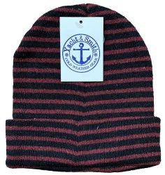 48 Units of Yacht & Smith Unisex Knit Winter Hat With Stripes Assorted Colors - Winter Beanie Hats