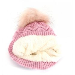 36 Units of Girls Knit Beanie Hat With Fur Lined In Assorted Colors - Winter Beanie Hats