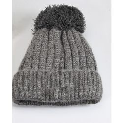 36 Units of Women's Beanie Pompom Hat With Fur Lined Assorted Colors - Winter Beanie Hats