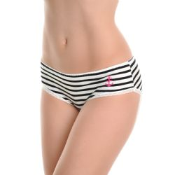 72 Units of Angelina Cotton MiD-Rise Briefs With Anchor Stripe Design - Womens Panties & Underwear