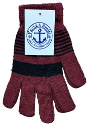 36 Units of Yacht & Smith Unisex Winter Gloves, Magic Stretch Gloves In Assorted Stripe Colors Bulk Pack - Knitted Stretch Gloves