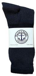 24 Units of Yacht & Smith Mens Wholesale Bulk Cotton Socks, Athletic Sport Socks Shoe Size 8-12 (Navy, 24) - Mens Crew Socks