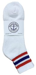 24 Units of Yacht & Smith Women's Premium Cotton Sport Ankle Socks Size 9-11 With Stripes - Womens Ankle Sock