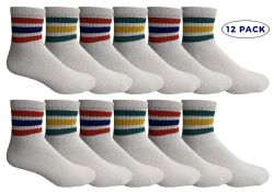 12 Units of Yacht & Smith Women's Premium Cotton Sport Ankle Socks Size 9-11 With Stripes - Womens Ankle Sock