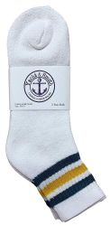 12 Units of Yacht & Smith Women's Cotton Sport Ankle Socks Size 9-11 With Stripes - Womens Ankle Sock