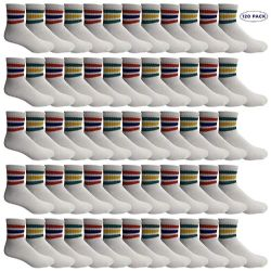 120 Units of Yacht & Smith Women's Premium Cotton Sport Ankle Socks Size 9-11 With Stripes - Womens Ankle Sock