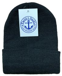 96 Units of Yacht & Smith Mens Warm Winter Hats And Glove Set Solid Black 96 Pieces - Winter Care Sets