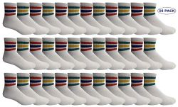 36 Units of Yacht & Smith Men's King Size Premium Cotton Sport Ankle Socks Size 13-16 With Stripes - Big And Tall Mens Ankle Socks