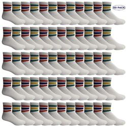 60 Units of Yacht & Smith Men's King Size Premium Cotton Sport Ankle Socks Size 13-16 With Stripes - Big And Tall Mens Ankle Socks