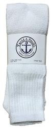 12 Units of Yacht & Smith Men's 30 Inch Premium Cotton King Size Extra Long White Tube Socks- Size 13-16 - Big And Tall Mens Tube Socks