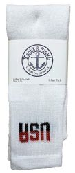 120 Units of Yacht & Smith Kids Cotton USA Tube Socks, Referee Style size 6-8 - Boys Crew Sock