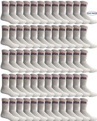 240 Units of Yacht & Smith Mens Wholesale Bulk Cotton Socks, Athletic Sport Socks Shoe Size 8-12 (white Usa, 240) - Mens Crew Socks