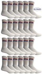 24 Units of Yacht & Smith Mens Wholesale Bulk Cotton Socks, Athletic Sport Socks Shoe Size 8-12 (white Usa, 24) - Mens Crew Socks