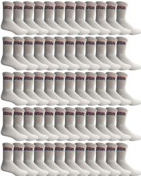 120 Units of Yacht & Smith Mens Wholesale Bulk Cotton Socks, Athletic Sport Socks Shoe Size 8-12 (White USA, 120) - Mens Crew Socks