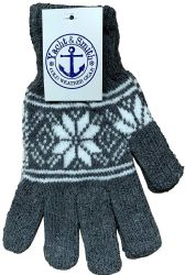 48 Units of Yacht & Smith Mens Snow Flake Thermal Winter Gloves - Knitted Stretch Gloves