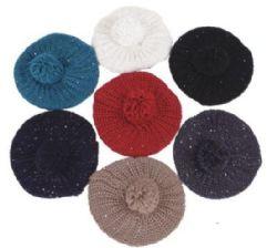 72 Units of Women's Glitter Beret Hat With Fur Ball - Fashion Winter Hats