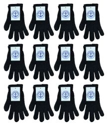 12 Units of Yacht & Smith Unisex Black Magic Gloves - Knitted Stretch Gloves