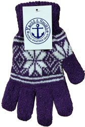 48 Units of Yacht & Smith Snowflake Print Womens Winter Gloves With Stretch Cuff - Knitted Stretch Gloves