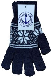 48 Units of Yacht & Smith Womens Snow Flake Thermal Winter Gloves - Knitted Stretch Gloves