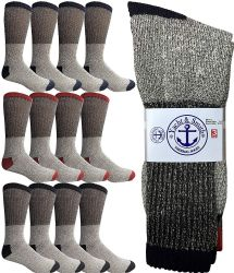 60 Units of Yacht & Smith Mens Cotton Thermal Crew Socks, Cold Weather Boot Sock Shoe Size 8-12 - Mens Thermal Sock