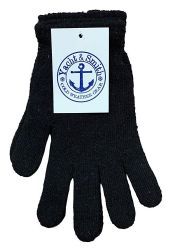 48 Units of Yacht & Smith Black Magic Stretch Gloves Bulk Thermal Winter Gloves Solid Black - Knitted Stretch Gloves
