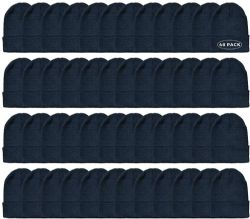 48 Units of Yacht & Smith Unisex Winter Warm Beanie Hats In Solid Black - Winter Beanie Hats