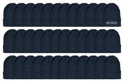 36 Units of Yacht & Smith Unisex Winter Warm Beanie Hats In Solid Black - Winter Beanie Hats