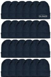 24 Units of Yacht & Smith Black Beanies Bulk Thermal Winter Hat Solid Black - Winter Beanie Hats
