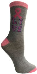 60 Units of Pink Ribbon Live Breast Cancer Awareness Crew Socks For Women - Breast Cancer Awareness Socks