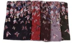 72 Units of Women's Butterfly Print Light Weight Infinity Scarf - Womens Fashion Scarves
