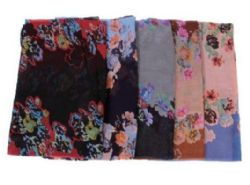 72 Units of Women's Floral Print Light Weight Infinity Scarf - Womens Fashion Scarves