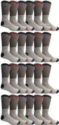 24 Units of Yacht & Smith Mens Cotton Thermal Tube Socks, Cold Weather Boot Sock Shoe Size 8-12 (24) - Mens Thermal Sock