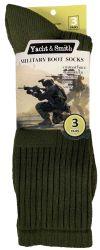 6 Units of Yacht & Smith Military Grade Wick Dry Crew Socks ,Heavy Duty Boot Sock, Army Green - Mens Crew Socks