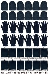 12 Units of Yacht & Smith Unisex 3 Piece Pre Assembled  Winter Care Set Hat Gloves & Scarf Solid Black - Winter Care Sets