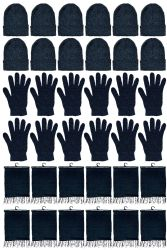 72 Units of Yacht & Smith Unisex 3 Piece Pre Assembled  Winter Care Set Hat Gloves & Scarf Solid Black - Winter Gear