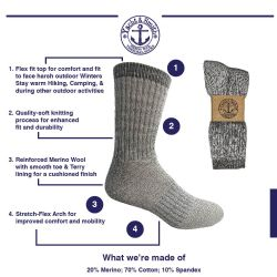 36 Units of Yacht & Smith Mens Terry Lined Merino Wool Thermal Boot Socks - Mens Thermal Sock