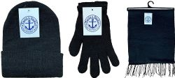 6 Units of Yacht & Smith Unisex 3 Piece Pre Assembled  Winter Care Set Hat Gloves & Scarf Solid Black - Winter Care Sets