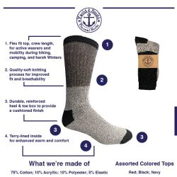 12 Units of Yacht & Smith Mens Cotton Thermal Crew Socks, Cold Weather Boot Sock Shoe Size 8-12 - Mens Thermal Sock