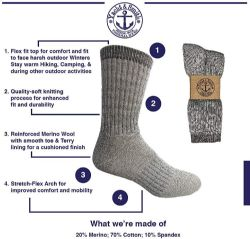 12 Units of Yacht & Smith Wholesale Bulk Merino Wool Thermal Boot Socks (Mens/Assorted, 12) - Mens Thermal Sock