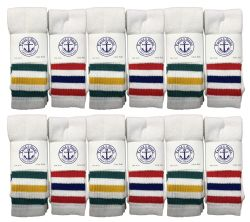 240 Units of Yacht & Smith 30 Inch Wholesale Men's Long Tube Socks, Cotton Big And Tall Tube Socks Size 13-16 Old School Stripes Bulk Buy - Men's Socks for Homeless and Charity