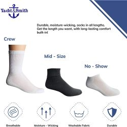 72 Units of Yacht & Smith Bulk Thick Cotton Socks Wholesale Men, Womans Or Kids Crew Cut, Ankle And Low Cut Mix Sport Socks - 72 Pairs (solid White, Womens 9-11) - Sock Care Sets