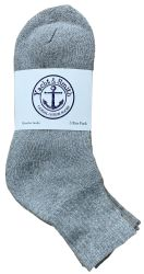 12 Units of Yacht & Smith Men's Cotton Sport Mid Ankle Socks Size 10-13 Solid Gray - Mens Ankle Sock