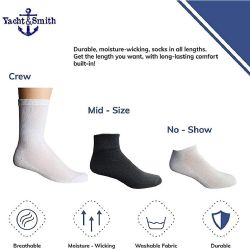 60 Units of Yacht & Smith Wholesale Kids Mid Ankle Socks, With Free Shipping Size 6-8 (white) - Boys Ankle Sock