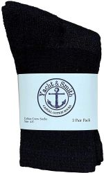 24 Units of Yacht & Smith Wholesale Kids Crew Socks, With Free Shipping , Sock Size 4-6 (Black) - Boys Ankle Sock