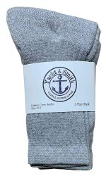48 Units of Yacht & Smith Wholesale Kids Crew Socks, With Free Shipping Size 4-6 (Gray) - Boys Crew Sock