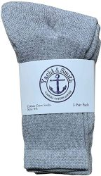 36 Units of Yacht & Smith Wholesale Kids Crew Socks,With Free Shipping Size 4-6 (Gray) - Boys Crew Sock